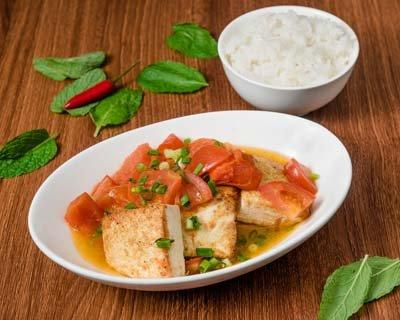 Saigon Cellars Fried Tofu With Fresh Tomato Sauce